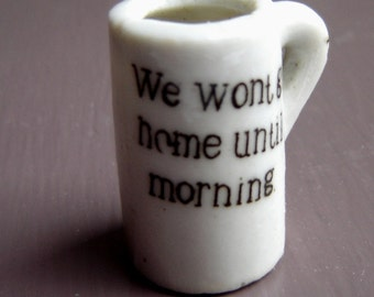 Miniature Porcelain Tankard with Drinking Slogan for Rowdy Dolls