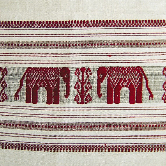 Vintage Asian Silk Scarf or Runner with Red Elephant Embroidery
