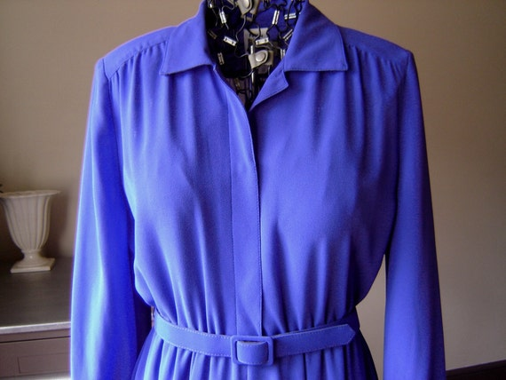 Grape Polyester Secretary Dress by Petites by Willi, Large