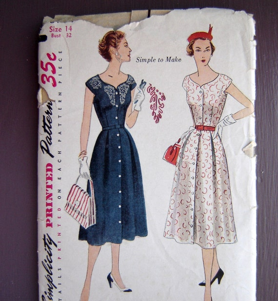 Vintage 1950s Summer Dress Sewing Pattern Simplicity 3930, Uncut, Bust 32