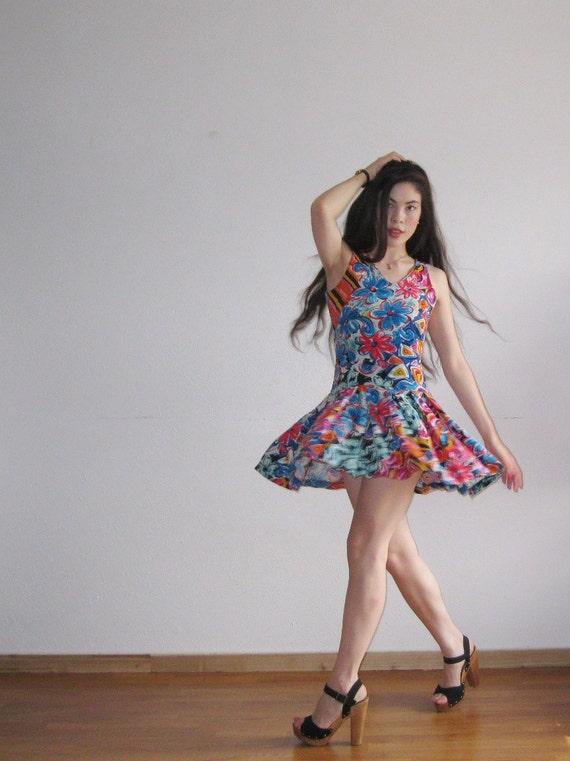Vintage Rainbow bright floral drop waist summer dress
