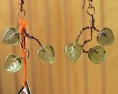 Twisted Copper Green glass leaf earrings