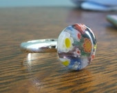 Multicolored Millefiori Adjustable Ring