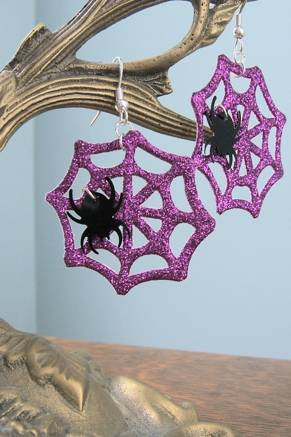 Purple Sparkly Spiderweb Earrings