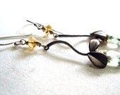 olive mint green amethyst gold yellow citrine on silver leaves - autumn bloom earrings