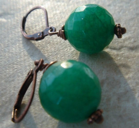faceted dark green jade on antique copper - emerald city earrings