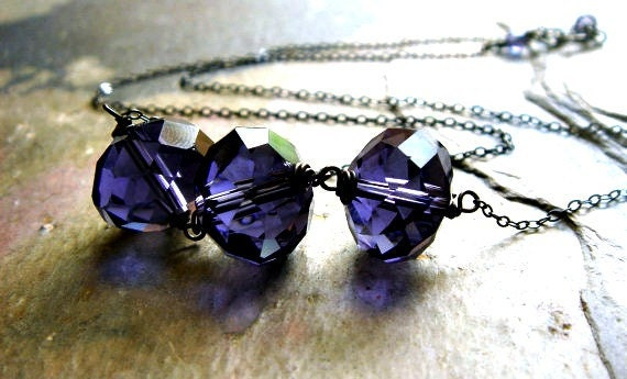 faceted iolite blue purple glass on sterling silver line pendant - wicked necklace