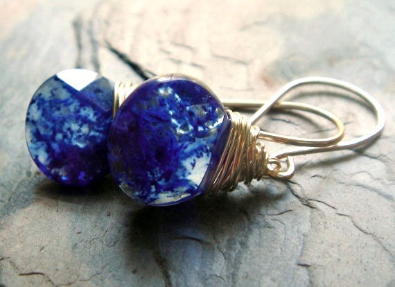 sapphire blue blueberry quartz on sterling silver - blueberry earrings