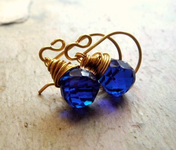royal deep sapphire blue faceted glass on gold - meditate earrings