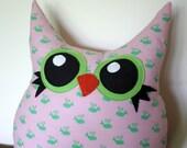 owl pillow, plush, eco friendly, handmade