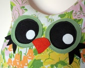 owl decor pillow, stuffed owl, 5 orange potatoes