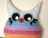 owl pillow plush, handmade, in rainbow