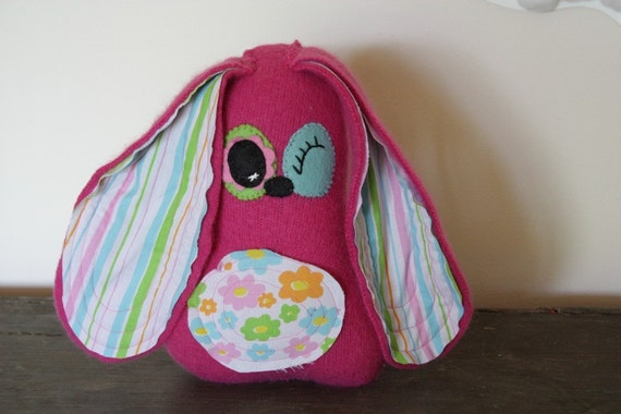 plush rabbit stuffed animal in pink, vintage fabric, eco friendly