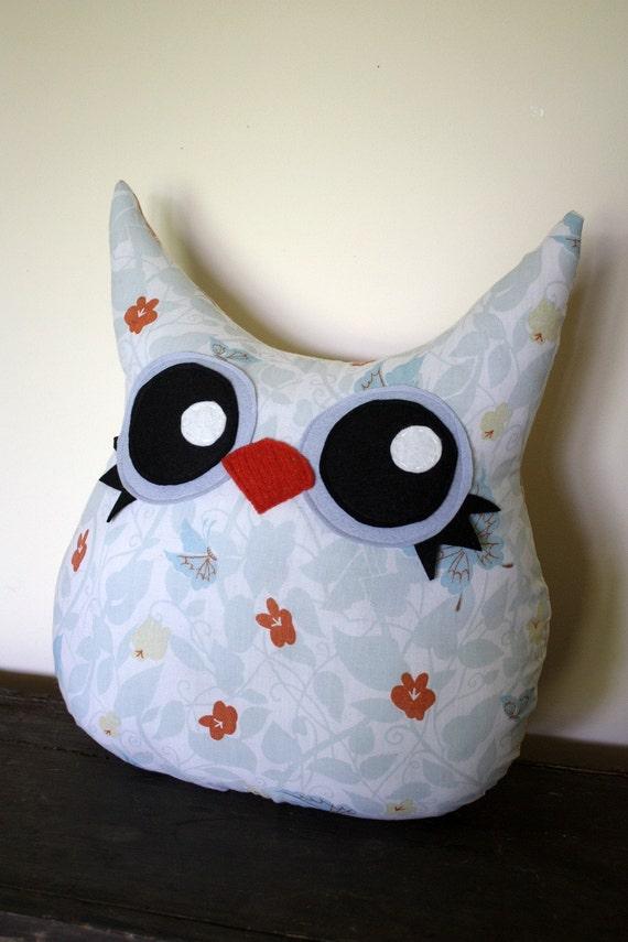 SALE, owl pillow- stuffed owl plush- eco friendly