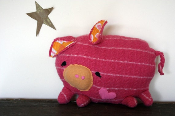handmade pig stuffed animal in pink and stripes/ pig pillow/ eco friendly
