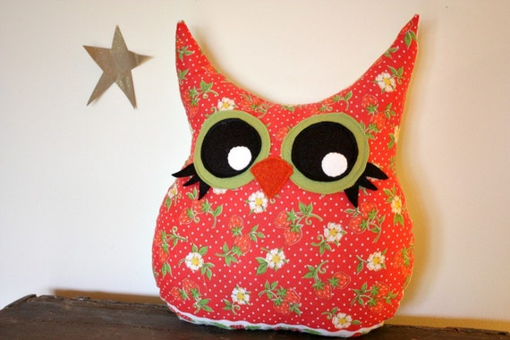 owl decor pillow, stuffed owl, 5 orange potatoes
