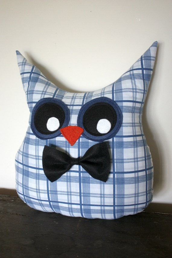 owl pillow plush stuffed animal/ bowtie/ Doctor Who