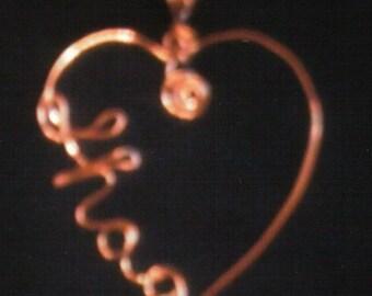 COPPER SHAG HEART Pendant with chain