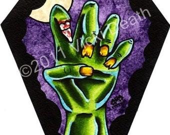 Coffin Zombie Hand Original Horror Art