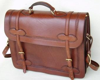 Handmade Bridle Leather Briefcase/Computercase