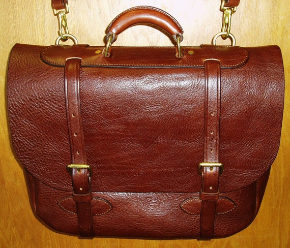 Handmade Softside Leather Briefcase/Carryon Bag