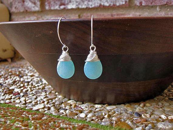 Aqua Jade Briolette Earrings