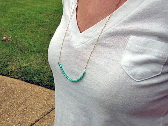 Long Czech Beaded Necklace-Layering Necklace-Turquoise and Gold-READY TO SHIP