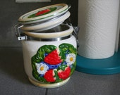 Vintage Strawberry and Daisy Ceramic Jar