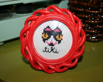 Framed Custom Pet Portrait Cross Stitch