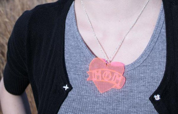 Heart With Banner Dad  or Mom Tattoo Necklace