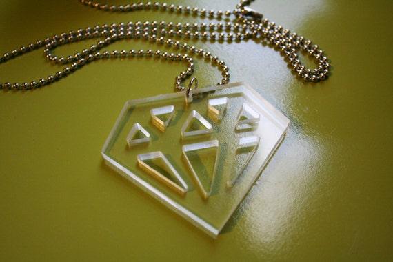 Clear Plexiglass Diamond Necklace
