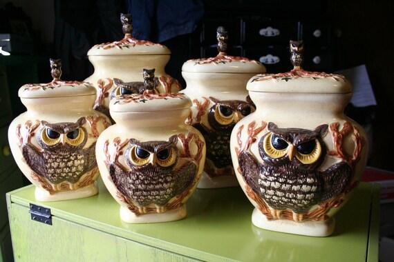 5 Vintage Owl Cookie Jars
