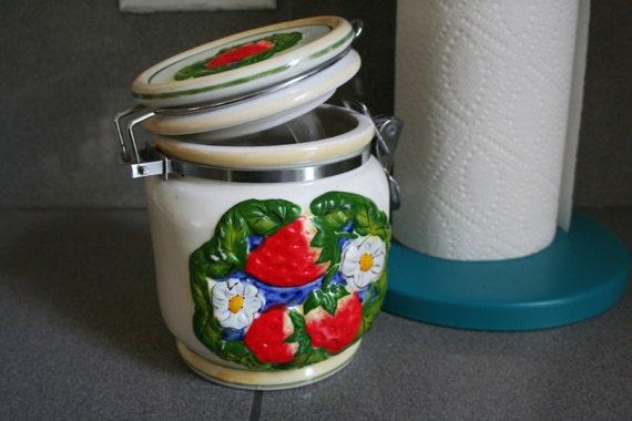 Vintage Strawberry and Daisy Ceramic Jar