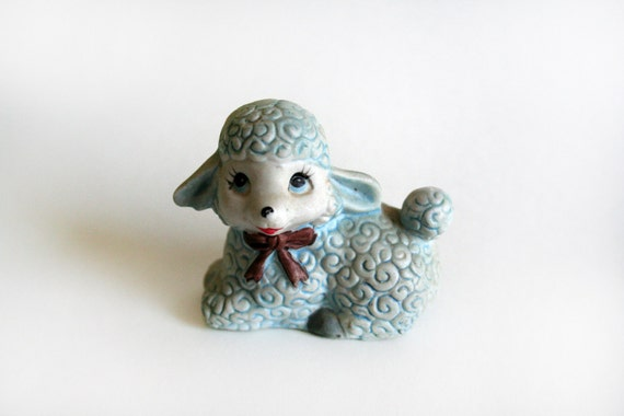 Small Vintage Baby Blue Lamb Figurine Collectible Miniature