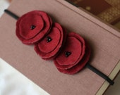 cranberry kisses - burgandy poppy garland headband.