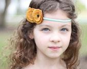 mint and goldenrod felt poppy garland headband.