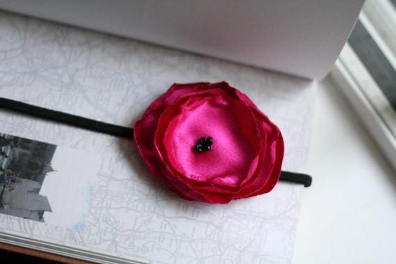 heart exploding bright pink silk  poppy garland