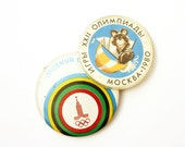 Two vintage pins Olympics 1980 Summer