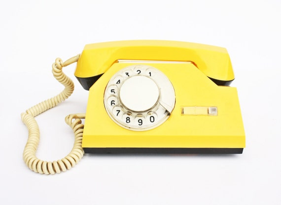Vintage yellow rotary phone