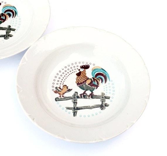 Set of 2 vintage porcelain soup plates
