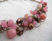 Pink Bronze Wire Crochet Necklace