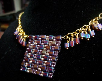 Beaded Square Pendant Necklace