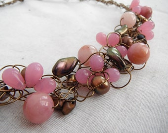 Pink Bronze Wire Crochet Necklace