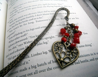Antique Bronze and Red Heart Bookmark