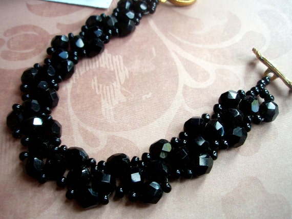 Black Evening Bracelet - classy, crystals, seed beads, glass