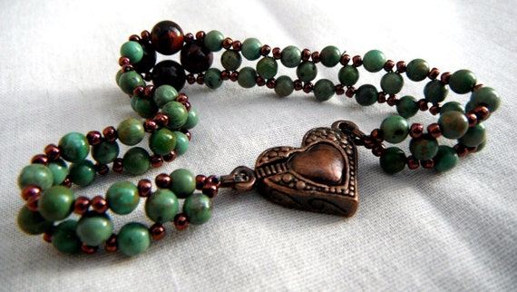 Copper Heart Turquoise and Jasper Bracelet - Green Brown