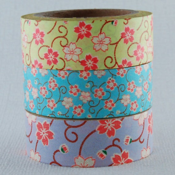 Japanese Washi Tape - Asian Floral Trio - 3 rolls