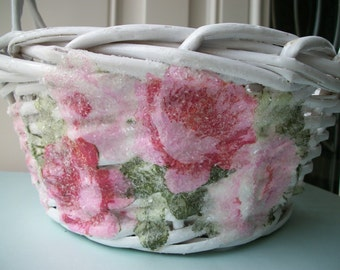 Decoupaged Basket Wicker Shabby Chic Romantic Chippy Roses
