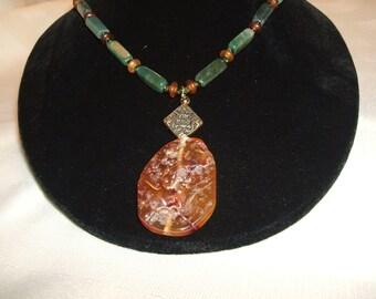 African Jade and Carnelian Pendant Necklace