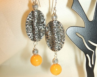 Yellow Jade and Hammered Earrings
